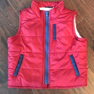 Gap Red Puffer Vest Sherpa Lined Baby Boy NEW